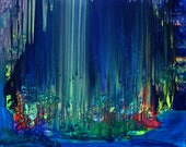 SOLD - Night Forest - Abstract Art Blue Green Acrylic Energy Therapy Painting on Stretched Canvas Ready to Hang by Mona Lazar