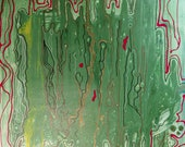 Vibrate - Abstract Green Acrylic  Original Painting on Canvas by Mona Lazar