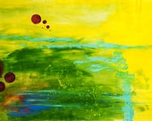 Be the Light - Abstract Art Green Yellow Therapy Original Acrylic Painting on Canvas by Mona Lazar