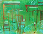 Pulse and Relax - Abstract Art Green Gold Acrylic Energy Therapy Painting on Stretched Canvas Ready to Hang by Mona Lazar
