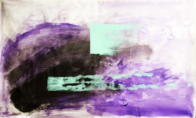 The Path  Abstract Art Purple Turquoise Minimalist Painting image 0