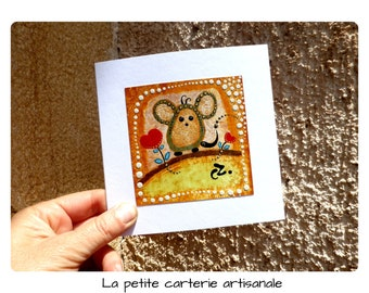 Handcrafted card, handmade card, birthday card card blank art card, original hand painted mouse