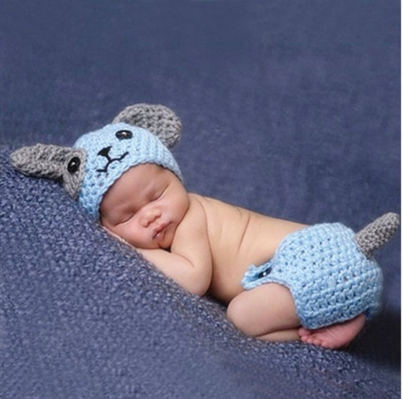 67e8bfc72dc Cute Puppy Dog Newborn Baby Boys Photography Props Knitted