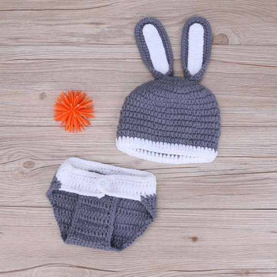 a841b05f9f7  29.99 Newborn Photography Props Handmade Winter Baby Clothes Cute Knitted  Rabbit Shaped Hat+Shorts
