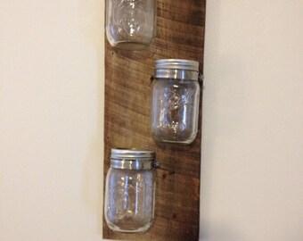 Three Vertical Mason Jars