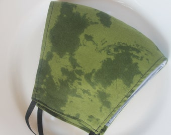 Face Mask with Filter Pocket | Army Green Print Mask | Reusable Face Mask | Three Layer Protective Face Covering | Unisex Face Mask