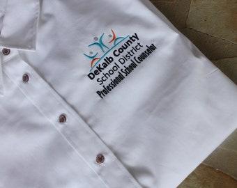 DeKalb County School District Counselor WOMEN Oxford Long Sleeve Shirt Customized Logo Uniform
