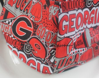 Face Mask with Filter Pocket | Georgia Bulldogs Graffiti Reusable Face Mask | Three Layer Protective Face Covering  |  Sports Face Mask
