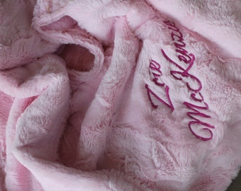 Minky Blanket | Plush Blanket | Blush Luxe Minky | Personalized Minky Blanket | Customized Throw | Faux Fur Blanket | Baby Girl Blanket