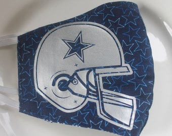 Face Mask with Filter Pocket | Dallas Cowboys Stars Reusable Face Mask | Three Layer Protective Face Covering  |  Sports Face Mask