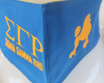 Face Mask with Filter Pocket | Sigma Gamma Rho Mask | Reusable Face Mask | Three Layer Protective Face Covering | Sorority Greek Face Mask