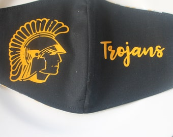 Face Mask with Filter Pocket | Trojans School Logo Mask | Reusable Face Mask | Three Layer Protective Face Covering  |  School Face Mask