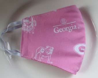 Face Mask with Filter Pocket    Georgia Bulldogs Pink Georgia Reusable Face Mask   Three Layer Protective Face Covering     Sports Face Mask