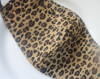 Face Mask with Filter Pocket | Cheetah Animal Print Mask | Reusable Face Mask | Three Layer Protective Face Covering | Unisex Face Mask