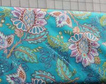 Bazaar Deep Exotic Flora Art Gallery Fabrics by Patricia Bravo, Premium Cotton Fabrics, Quilting Fabrics, Sewing Cotton Fabrics, Limited
