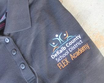 FLEX Academy WOMEN Style Short Sleeve Polo School Uniform Shirt DeKalb County School District Or Customize to Your School