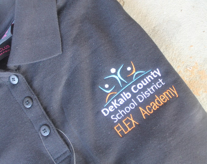 Featured listing image: FLEX Academy MEN Style Short Sleeve Polo School Uniform Shirt DeKalb County School District Or Customize to Your School