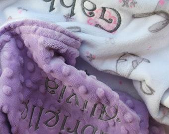 Bunny Hop Baby/Toddler Minky Blanket Personalized Baby Blanket Girl Baby Blanket Monogram Reversible Custom Baby Blanket Swaddle Gift