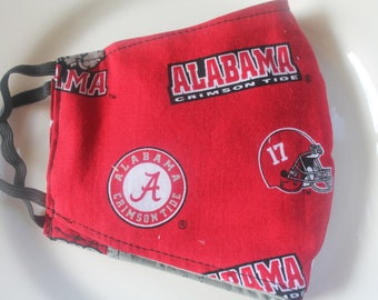 Face Mask with Filter Pocket | Alabama Football Logo Mask | Reusable Face Mask | Three Layer Protective Face Covering  |  Sports Face Mask
