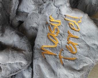 Minky Blanket | Plush Blanket | Graphite Gray Minky | Personalized Minky Blanket | Customized Throw | Faux Fur Blanket | Unisex Baby Blanket