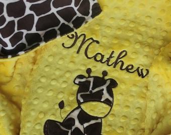 Personalized Giraffe Baby Girl Boy Unisex Minky Cuddle Soft Blanket, Baby Shower Gift, Baby Blankets Personalized, Embroidered Baby Blanket