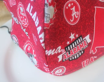 Face Mask with Filter Pocket  | Alabama Football Home State Reusable Face Mask | Three Layer Protective Face Covering  |  Sports Face Mask