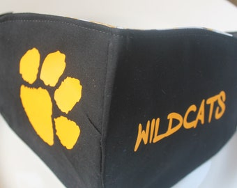 Face Mask with Filter Pocket | Wildcats School Logo Mask | Reusable Face Mask | Three Layer Protective Face Covering  |  School Face Mask