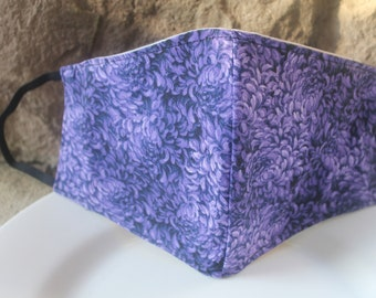 Face Mask with Filter Pocket | Purple Mums Mask | Reusable Face Mask | Three Layer Protective Face Covering | Unisex Face Mask