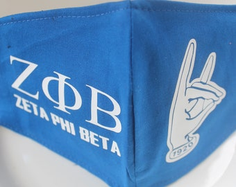 Face Mask with Filter Pocket | Zeta Phi Beta Mask | Reusable Face Mask | Three Layer Protective Face Covering | Sorority Greek Face Mask