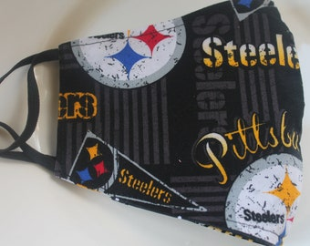 Face Mask with Filter Pocket  | Pittsburg Steelers Mask  | Reusable Face Mask | Three Layer Protective Face Covering  |  Sports Face Mask