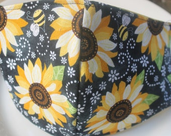 Face Mask with Filter Pocket | Sunflower and Bees Mask | Reusable Face Mask | Three Layer Protective Face Covering | Unisex Face Mask