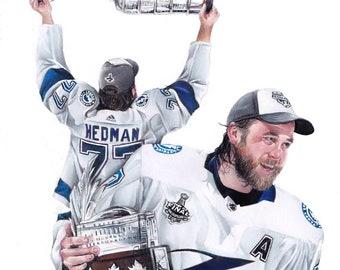 Tampa Bay Lightning Victor Hedman Stanley Cup Conn Smythe drawing A4 Print