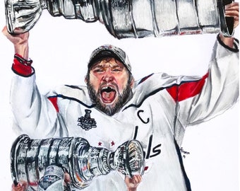 Washington Capitals Alex Ovechkin Stanley Cup drawing print