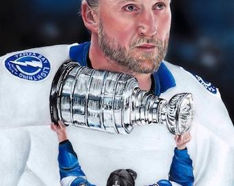 Tampa Bay Lightning Steven Stamkos Stanley Cup  A4 Print