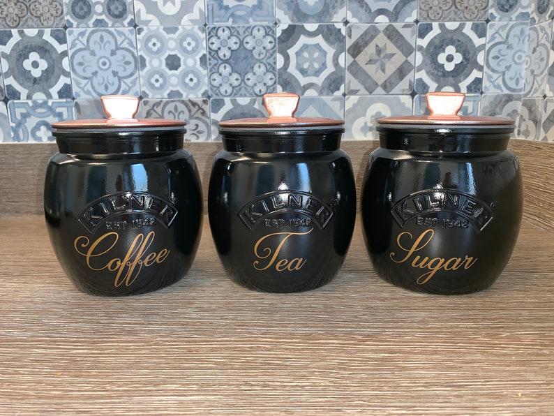 Black With Rose Gold Lids Tea Coffee Sugar Biscuit Cookie Jar | Etsy