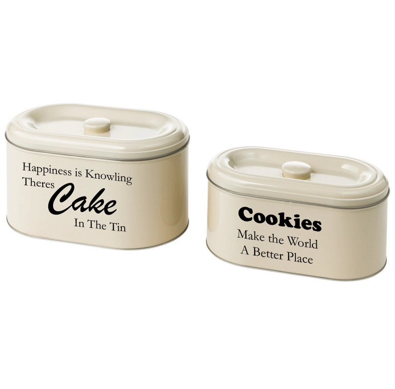 Kitchen Decor Laundry Bit /& Bobs, Personalised Set of 2 Stackable Tin Storage boxes with lid Ideal For Cakes Biscuits