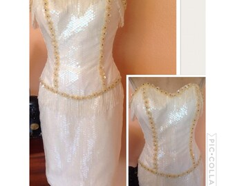 Vintage strapless white sequins dress S