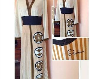 1970s Alfred Shaheen Long Maxi Dress 3/4 5/6