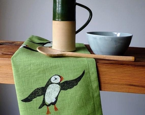 pistachio puffin linen tea towel