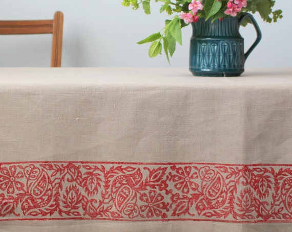 Linen Blue Bird Tablecloth in Red