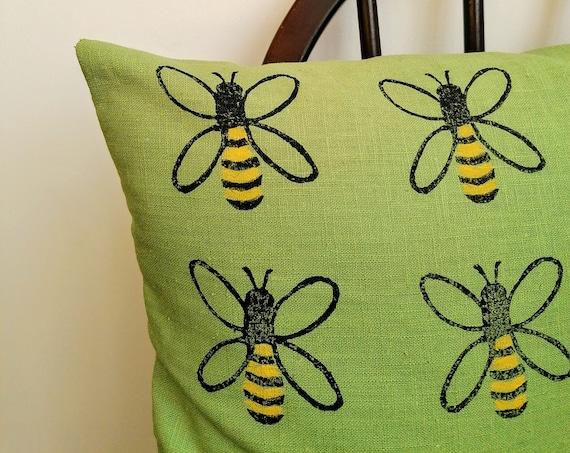 honey bee cushion - pistachio