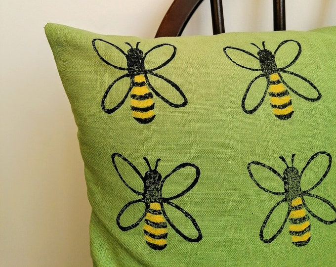 honey bee cushion - pistachio