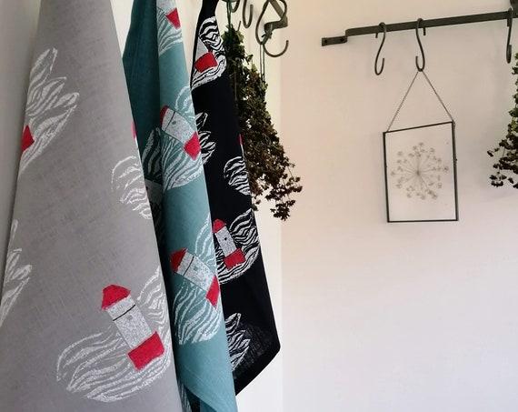 lighthouse linen tea towel