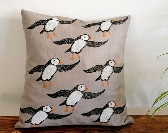 puffin cushion gray