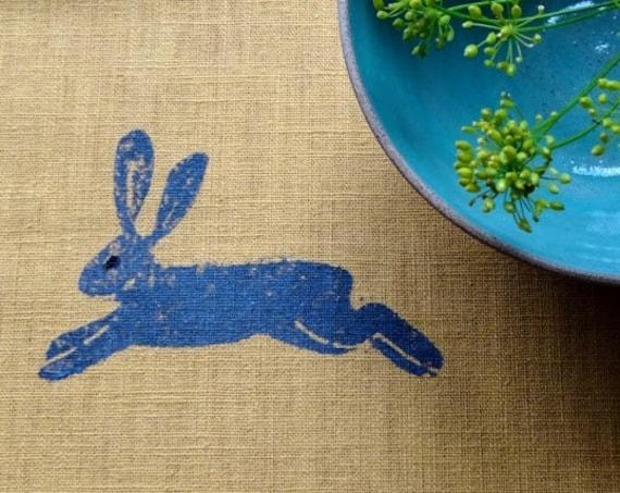 table runner hares on mustard linen