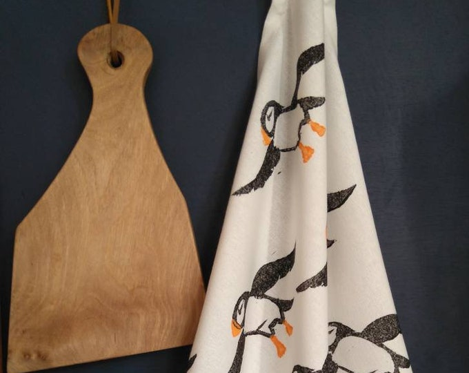 Featured listing image: Puffins - Tea Towel - Organic Cotton