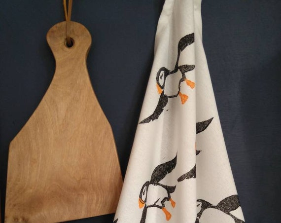 puffins tea towel - organic cotton
