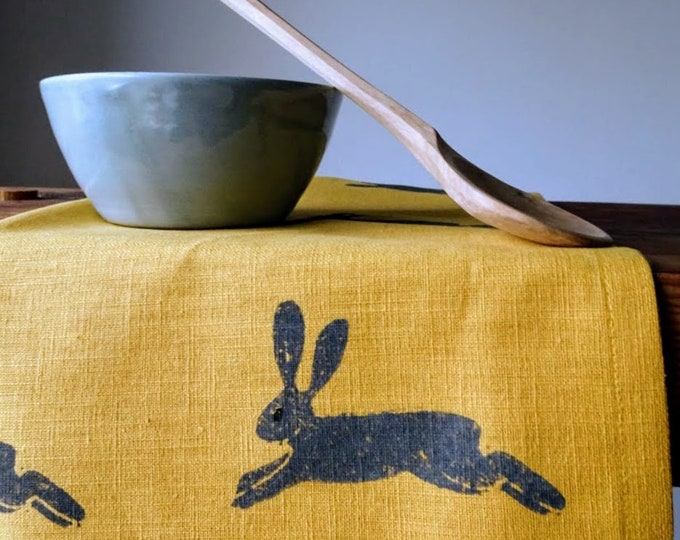 gray hare linen tea towel