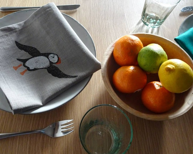 linen napkin puffin grey