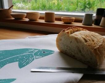 leaping salmon bread/vegetable bag organic cotton
